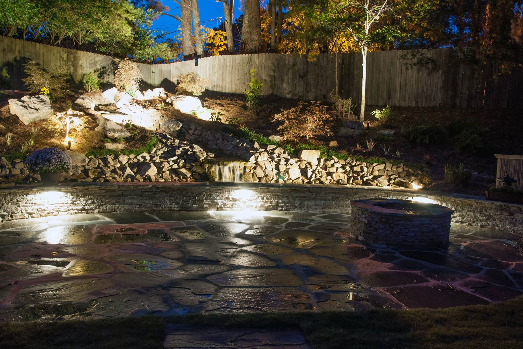 Stone patio lighting